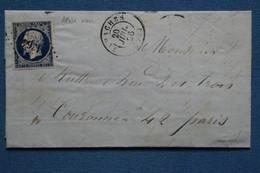 AE 4 FRANCE BELLE LETTRE 1856 GANACHEN  A  PARIS  +N14 BLEU NOIR + AFFRANCH. INTERESSANT - 1852 Louis-Napoleon