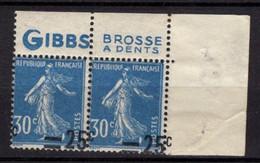 FRANCE SEMEUSE BANDE DE DEUX PUBLICITE GIBBS SURCHARGE A CHEVAL NEUVE ** - 1906-38 Säerin, Untergrund Glatt