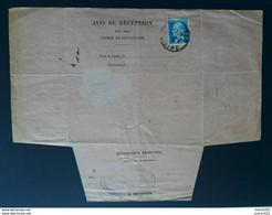 Frankreich 1925, AVIS DE RECEPTION, Innerhalb COLOBERS - Briefe U. Dokumente