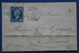 AE 4 FRANCE BELLE LETTRE 1859  BAZIEGE  A  PARIS  + OR ROUGE   + AFFRANCH. INTERESSANT - 1852 Louis-Napoleon