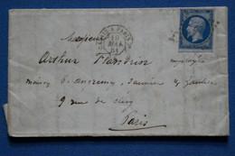 AE 4 FRANCE BELLE LETTRE 1861 CALAIS   A  PARIS  +     + AFFRANCH. INTERESSANT - 1852 Louis-Napoleon