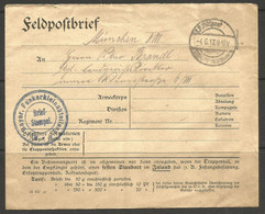 GERMANY. WW1. 1917. FELDPOSTBRIEF. BAVARIAN RADIO COMMUNICATIONS UNIT. CIRCULAR BLUE CACHET & STRAIGHT LINE ON REVERSE F - Briefe U. Dokumente