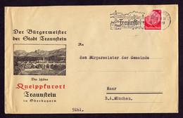 """DR Brief TRAUNSTEIN - Haar - 19. 10.38  Mit OWS """"Kneippkurort Traunstein 75 Km Waldspaziergang - Briefe U. Dokumente"""