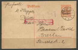 GERMANY / POLAND. WW1. 1918. CARD. KALISCH POSTMARK. RED POSEN CENSOR. ADDRESSED TO BRESLAU. 7 ½pf GENERAL GOVERNMENT WA - Briefe U. Dokumente