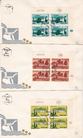 ISRAEL 1959, LOT 3 FDC ENVELOPPES AVEC BLOC DE QUATRE ET TAB.-LILHU - FDC
