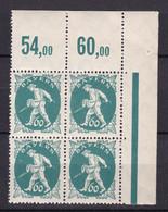 Bayern - 1920 - Michel Nr. 185 P OR Viererblock Ecke - Postfrisch - Bayern