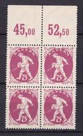 Bayern - 1920 - Michel Nr. 186 P OR Viererblock - Postfrisch - Bayern