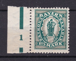 Bayern - 1920 - Michel Nr. 189 Pl.-Nr. 1 Rand - Postfrisch - 100 Euro - Bayern