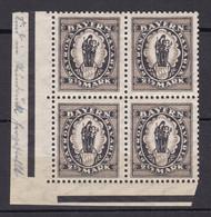 Bayern - 1920 - Michel Nr. 190 Viererblock Ecke - Postfrisch - Bayern