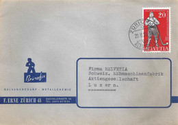 """Motiv Brief  """"Erne, Galvanobedarf/Metallchemie, Zürich""""           1955 - Cartas"""