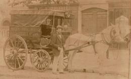 Photo Originale 14 X 10 Cm  Attelage, Marchand De Porcelaines / Verreries / Bouteilles Spécialité Pour Marchands De Vins - Oud (voor 1900)