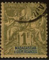 Madagascar (1899) 1Fr Peace & Commerce, Country Name In Blue. Scott 46a. Used. - Used Stamps