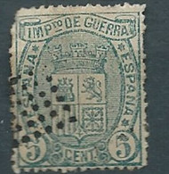 ESPAGNE ESPAÑA SPANIEN SPAIN ESPAÑA 1874 WAR TAX ARMS 5 CETS USED FALT DENT ED 154 MI ZWS-KM 3 YT I.G. 3 SG W228b SC MR3 - Used Stamps