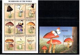 St. Vincent & Grenadines 1998 .  Mushrooms , Bees , Butterflies . S/S + M/S Of 9 - St.Vincent & Grenadines