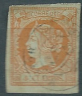 ESPAGNE SPANIEN SPAIN ESPAÑA 1860 QUEEN ISABEL II USED 4 CUARTOS ORANGE ED 52 MI 44 SG 64 SC 50 YT 48 - Used Stamps