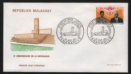 Madagascar  TANANARIVE  14 Octobre 1968   Sur N° Yv 455, FDC,  Anniversaire De La République - Madagaskar (1960-...)