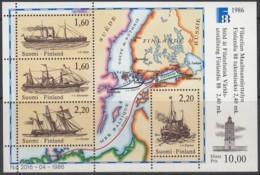 FINNLAND  Block 2, Postfrisch **, Internationale Briefmarkenausstellung FINLANDIA '88 1986, Postschiffe - Blocks & Kleinbögen