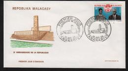 Madagascar  TANANARIVE  14 Octobre 1968   Sur N° Yv 456, FDC,  Anniversaire De La République - Madagaskar (1960-...)