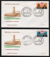 Madagascar  TANANARIVE  14 Octobre 1968   Sur N° Yv 455, 456, FDC,  Anniversaire De La République - Madagaskar (1960-...)