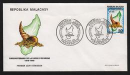 Madagascar  TANANARIVE  3 Novembre 1968   Sur N° Yv 457, FDC,  Caisse D' Epargne - Madagaskar (1960-...)