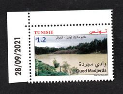 2021 - Tunisie - Timbre-poste Commun Tunisie-Algérie : Oued Madjerda- Fleuve - Série Complète 1v.MNH** Coin Daté - Tunesien (1956-...)