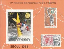 1988 Niger Seoul Korea Olympics Kayaking Stamps On Stamps Souvenir Sheet MNH - Niger (1960-...)