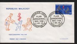 Madagascar  TANANARIVE  3 Décembre 1968   Sur N° Yv 458, FDC,  Plan Quinquennal - Madagaskar (1960-...)