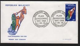 Madagascar  TANANARIVE  3 Décembre 1968   Sur N° Yv 459, FDC,  Plan Quinquennal - Madagaskar (1960-...)