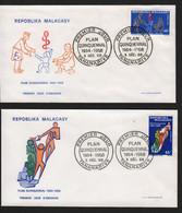 Madagascar  TANANARIVE  3 Décembre 1968   Sur N° Yv 458, 459, FDC,  Plan Quinquennal - Madagaskar (1960-...)