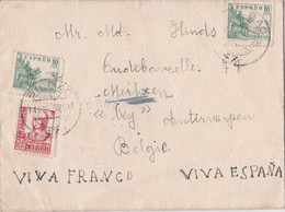 Viva Franco - Viva Espana On Letter Sent From Bilbao To Merksem (Belgium) - 1931-50 Covers