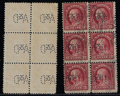 USA United States 1908 / 1926 Block Of 6 Stamp With Perfin A&D ByArkell & Douglas Incorporated From New York - Perfins