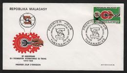 Madagascar  TANANARIVE  11 Avril 1969 Sur N° Yv 461, FDC,  OIT - Madagaskar (1960-...)