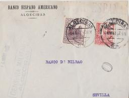 IViva Espana! On Front Of Letter (Banco De Bilbao) Sent To Sevilla - 1931-50 Covers