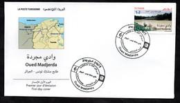2021 - Tunisie - Timbre-poste Commun Tunisie-Algérie : Oued Madjerda- Fleuve - FDC - Algerien (1962-...)
