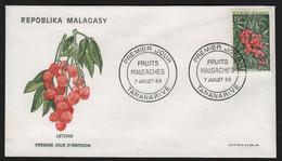 Madagascar  TANANARIVE 7 Juillet 1969 Sur N° Yv 466, FDC,  Fruits, Letchis - Madagaskar (1960-...)