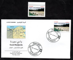 2021 - Tunisia - Joint Postage Stamp Tunisia-Algeria : Oued Madjerda - River - FDC + Complete Set 1v.MNH** - Algerien (1962-...)