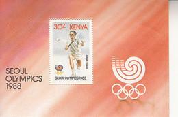 1988 Kenya Seoul Olympics Badminton  Souvenir Sheet MNH *** Small Ripple Upper Right Stam Unaffected *** - Kenia (1963-...)