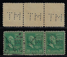 USA United States 1936 / 1952 Strip Of 3 Stamp With PerfinMT ByManufacturers Trust Company From New York - Perfins