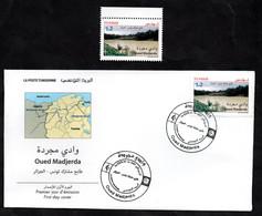 2021 - Tunisie - Timbre-poste Commun Tunisie-Algérie : Oued Madjerda- Fleuve - FDC + Émission Complète 1v.MNH** - Algerien (1962-...)