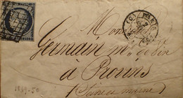 """R1311/1233 - CERES N°4h Bleu Noir - ✉️ (LSC) PARIS BUREAU """" D """" 3 FEVRIER 1851 à PROVINS (Seine Et Marne) - 1849-1850 Ceres"""