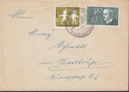 BRD  281, 284 MiF, Auf Brief Mit Sonderstempel: Freiburg 2.4.1958 - Brieven En Documenten