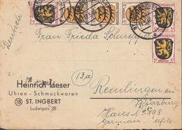 AllBes. FranzZone 3x 2, 3x3 MiF, Auf Faltbrief Der Fa. Heinrich Lieser Uhren Schmuck, Mit St: St. Ingbert 17.5.1946 - Französische Zone