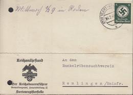 DR  Dienst 135 EF, Auf PK Reichsnährstand Mit Stempel: Stuttgart-Hohenheim 4.2.1943 - Dienstpost