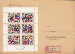 DDR  1426-1431, Kleinbogen Auf R-Brief, Mit Stempel: Greiz 10.12.1968, Der Gestiefelte Kater - Briefe U. Dokumente