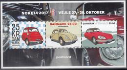 DÄNEMARK  Block 68 I, Postfrisch **, NORDIA '17, Oldtimer: BMW Isetta, VW Käfer, Citroen DS 21, 2017 - Blocks & Kleinbögen