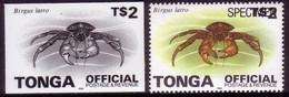 Tonga 1996 Proof + Specimen - $2.00 Crab OFFICIAL - Read Description - Crostacei