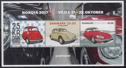 DÄNEMARK  Block 68 I, Gestempelt, NORDIA '17, Oldtimer: BMW Isetta, VW Käfer, Citroen DS 21, 2017 - Blocks & Kleinbögen
