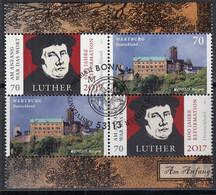 BRD 2x 3300, 2x 3310, Im 4erBlock Aus Markenheftchen 107, Gestempelt, Martin Luther, Wartburg, 2017 - Se-Tenant