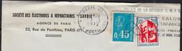 Blason AUCH Y.et.T.1468 + Mne De Béquet Bleu Y.et.T.1663 Sur Enveloppe Fenetre Coupée De  PARIS 08  Le 10 10 1972 - Briefe U. Dokumente