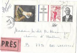 LETTRE EXPRES FECAMP 1972 POUR BAS WARNETON BELGIQUE, TIMBRES D EPOQUES CACHETS RONDS, ROUEN GARE, GARE DU NORD PARIS... - Briefe U. Dokumente